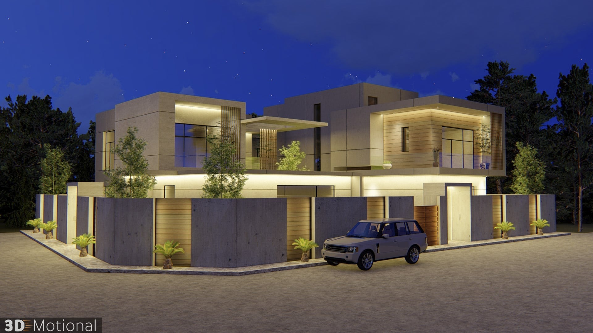 Modern Private Villa Exterior Animation - Al Khobar (2)
