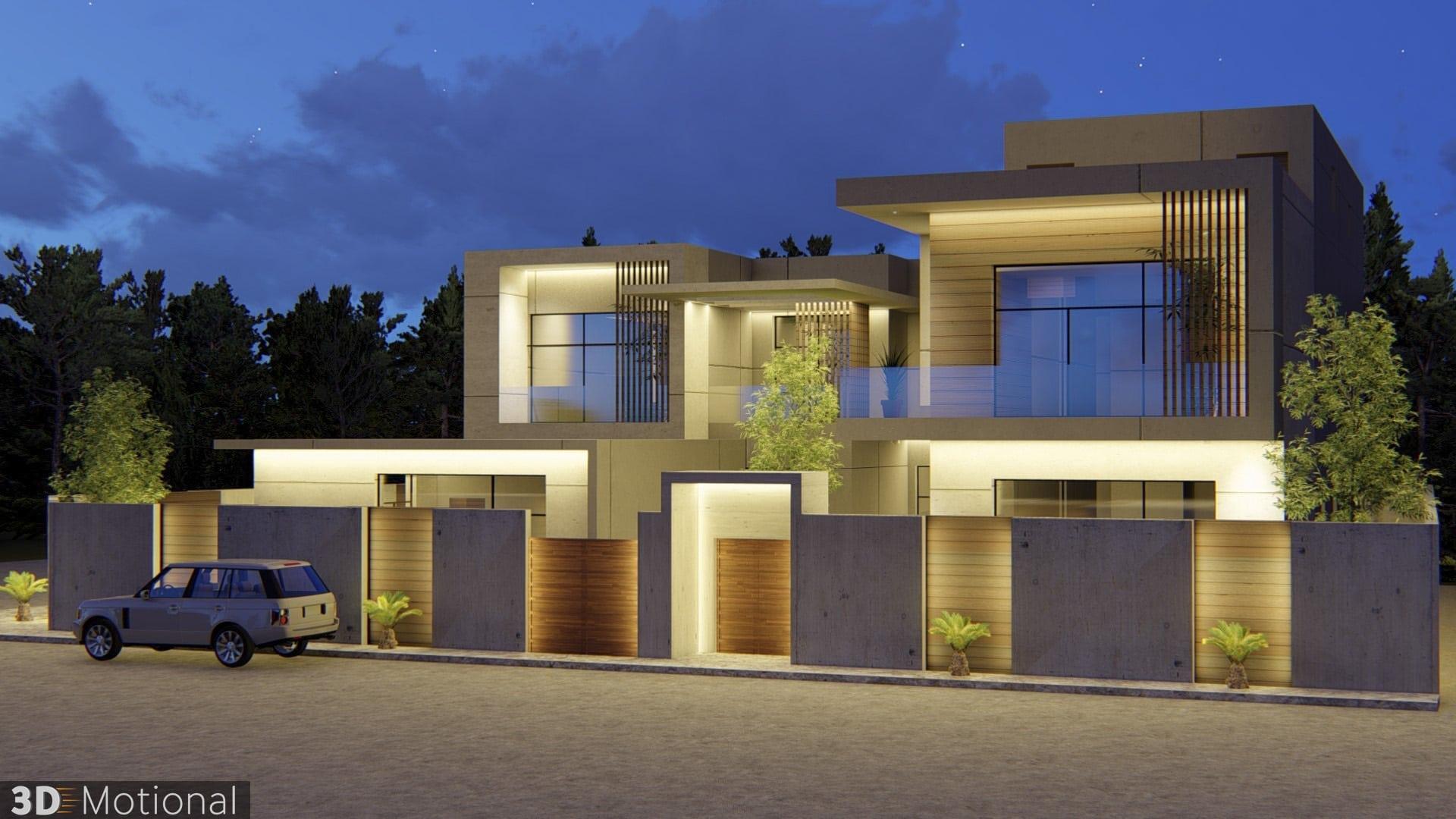 Modern Private Villa Exterior Animation - Al Khobar (3)