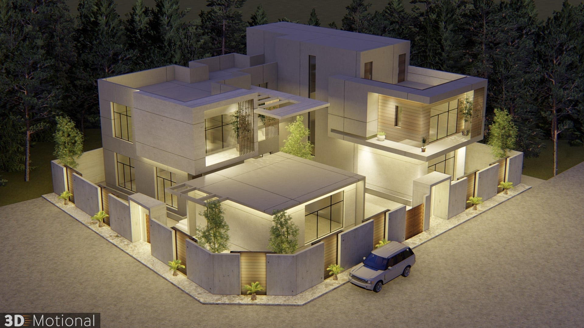 Modern Private Villa Exterior Animation - Al Khobar (5)