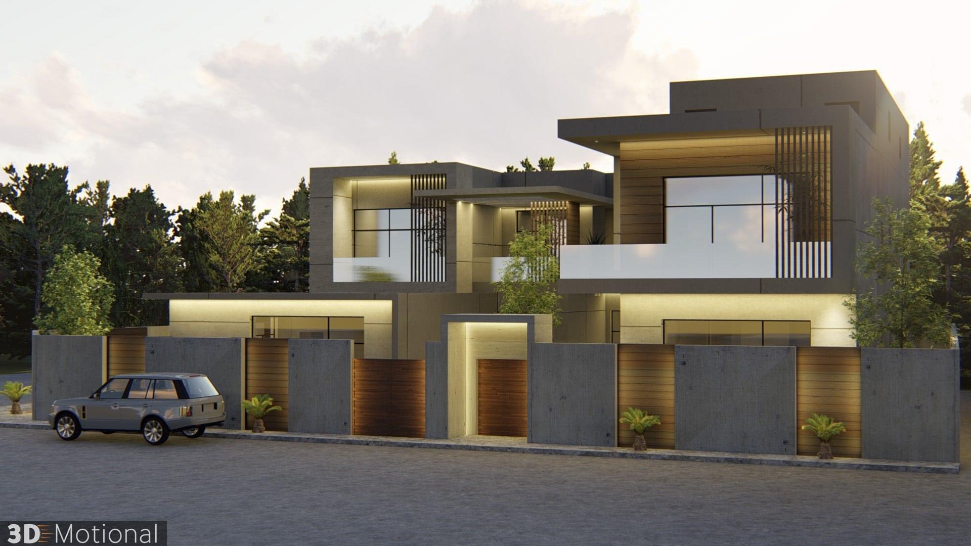 Modern Private Villa Exterior Animation - Al Khobar (7)